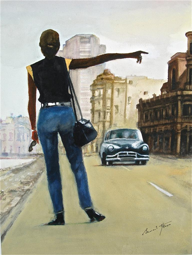 Auto-stoppeuse sur le Malecon