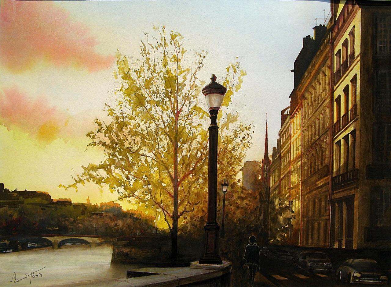 Paris - Quai d'Orléans au soleil couchant