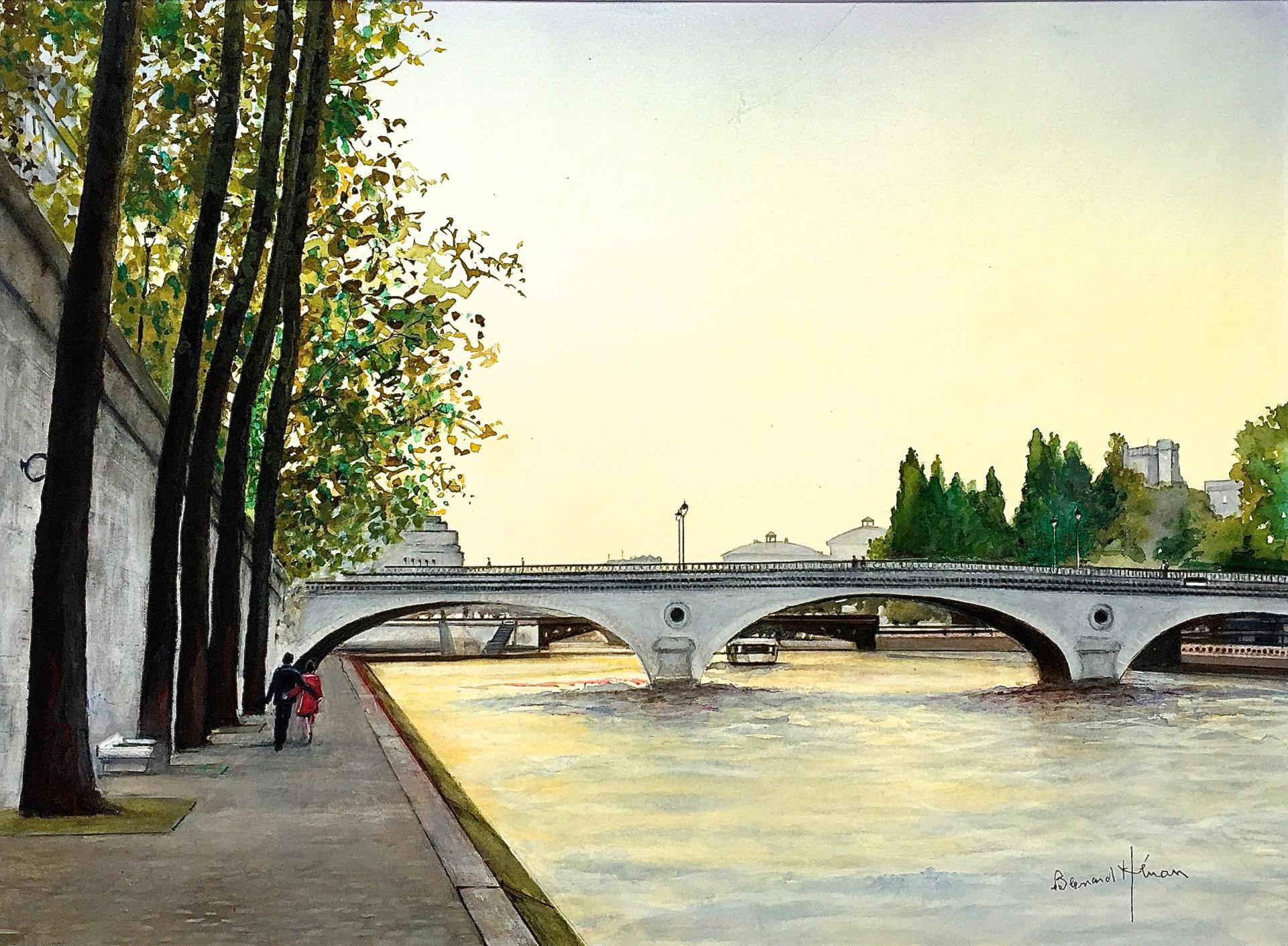 Paris - Pont Louis Phillipe  un soir d'été