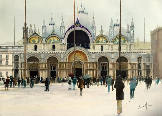Venise - Neige sur la Basilique St marc