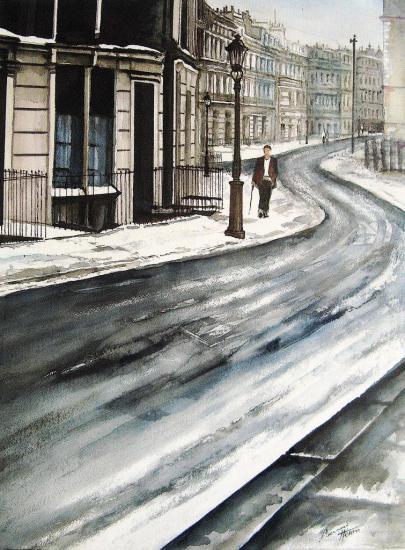 Une rue de LOndres sous la neige