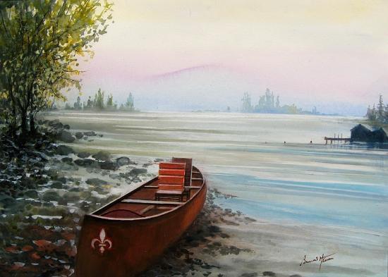 Gaspésie - Canot pour la pêche au saumon