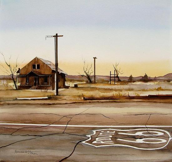Arizona (USA) - la route 66 au petit matin