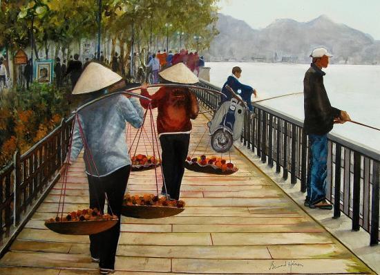 Vietnam - Hanoï : Scène de la vie quotidienne